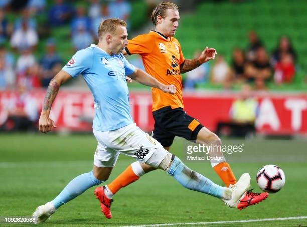 Ritchie De Laet of the City kicks the ball at goal during the round 13 ALeague match between Melbourne City and the Brisbane Roar at AAMI Park on...