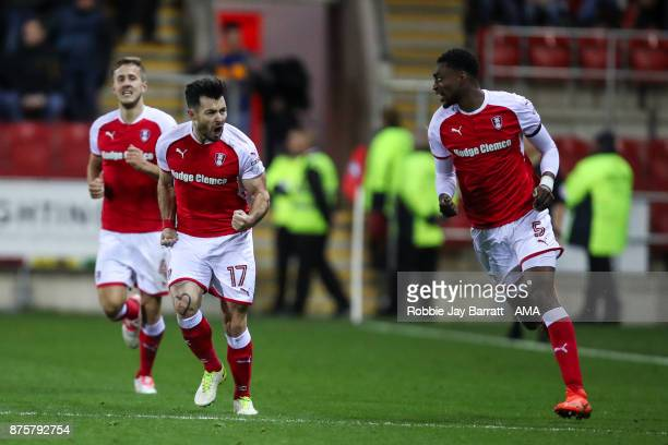Ritchie Towell of Rotherham United celebrates after scoring a goal to make it 11 during the Sky Bet League One match between Rotherham United and...