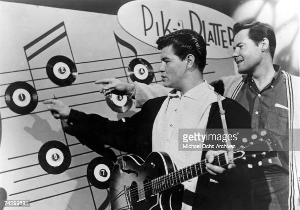 Ritchie Valens and president of DelFi Records Bob Keane on a TV show in 1958 in Los Angeles California