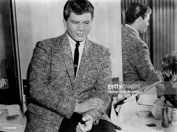 """Ritchie Valens in a film still from the movie """"Go, Johnny, Go!"""" in 1958 in Los Angeles, California."""