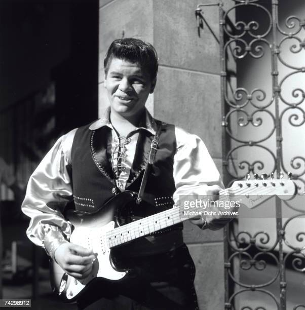Ritchie Valens performs on a TV show in 1958 in Los Angeles, California.