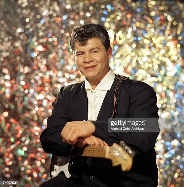 Ritchie Valens poses for his famous album cover session in July 1958 in Los Angeles, California.