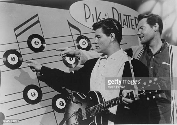 Ritchie Valens poses with Bob Keane in 1958 in the United States.