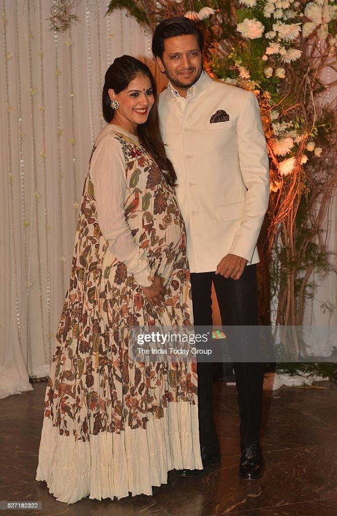 Riteish Deshmukh and Genelia D`Souza at Bipasha Basu and Karan Singh Grovers wedding reception ceremony at St Regis Hotel in Mumbai
