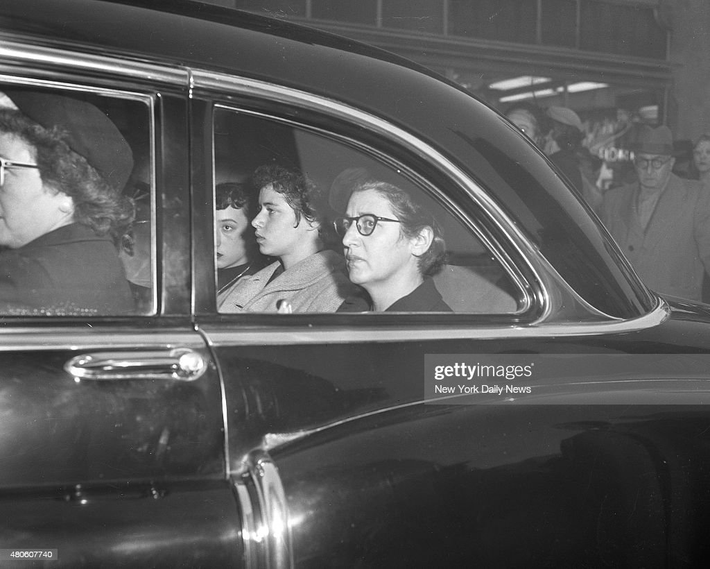 Rites for UN Counsel Abraham Feller widow and daughter, Caroline, arrive at Riverside Memorial Chapel, 76th St. and Amsterdam Ave., to attend funeral services of the UN general counsel. High UN and government fficials-including Secretary of State Acheson and Trygve Lie were at rites.