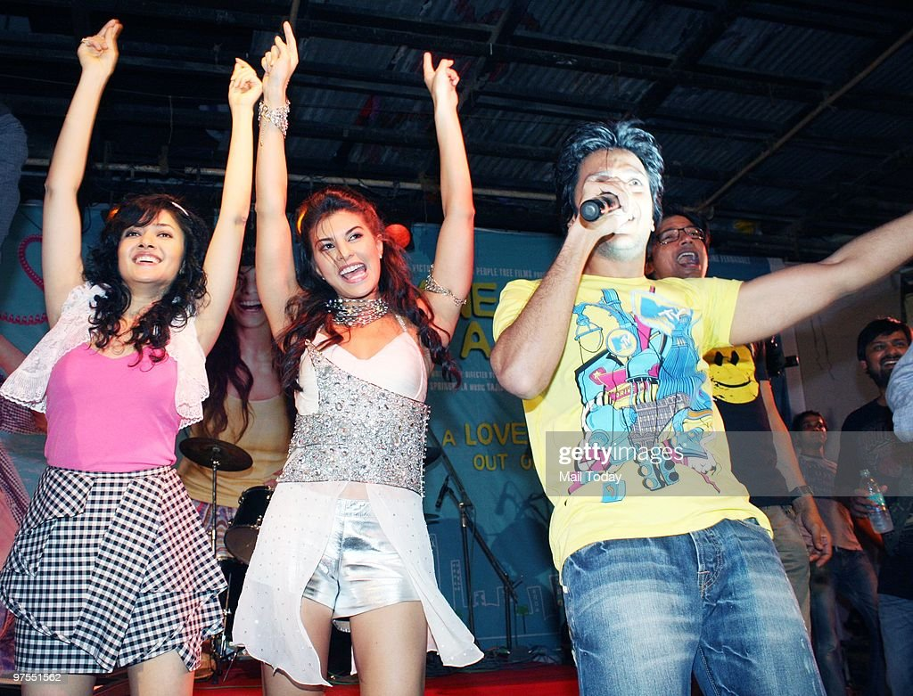 Ritesh Deshmukh Sonal Sehgal and Jacqueline Fernandez shoot for the film Jaane Kahan Se Aayi Hai in the campus of Narsee Monjee Institute of...