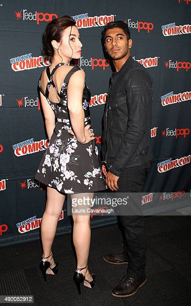 Ritesh Rajan and Allison Scagliotti of 'Stitschers' attend day 2 of New York ComicCon 2015 at The Jacob K Javits Convention Center on October 9 2015...