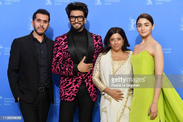 Ritesh Sidhwani Ranveer Singh Zoya Akhtar and Alia Bhatt pose at the Gully Boy photocall during the 69th Berlinale International Film Festival Berlin...