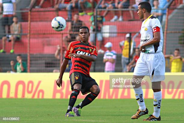 Rithely of Sport Recife competes for the ball during the Brasileirao Series A 2014 match between Sport Recife and Criciuma at Ilha do Retiro Stadium...