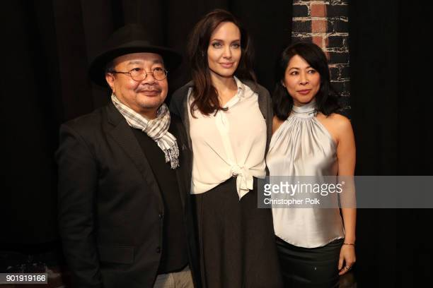 Rithy Panh Angelina Jolie and Loung Ung attend the HFPA and American Cinematheque Present The Golden Globe ForeignLanguage Nominees Series 2018...