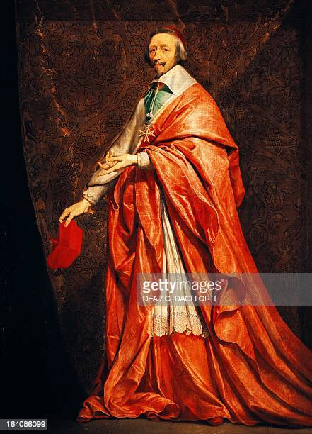 Ritratto del ArmandJean du Plessis known as Cardinal Richelieu French politician and Catholic bishop Painting by Philippe De Champaigne Paris Musée...
