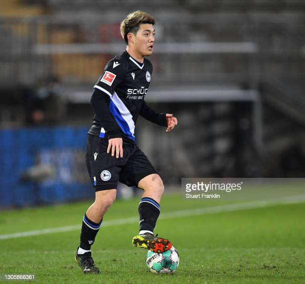 Ritsu Doan of Bielefeld in action during the Bundesliga match between DSC Arminia Bielefeld and 1. FC Union Berlin at Schueco Arena on March 07, 2021...