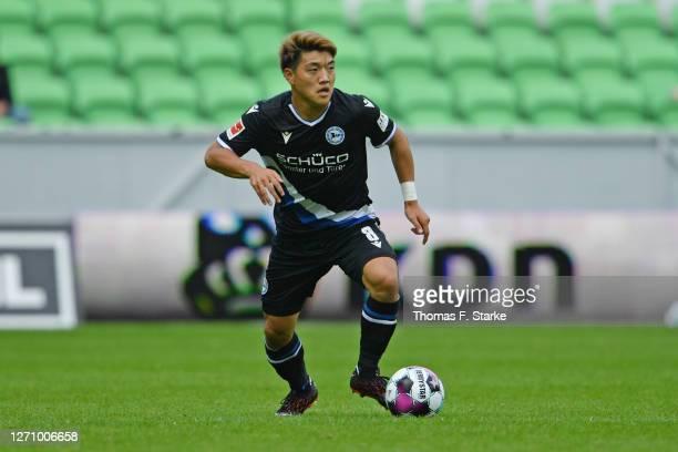 Ritsu Doan of Bielefeld runs with the ball during the pre-season friendly match between FC Groningen and Arminia Bielefeld at Hitachi Capital...