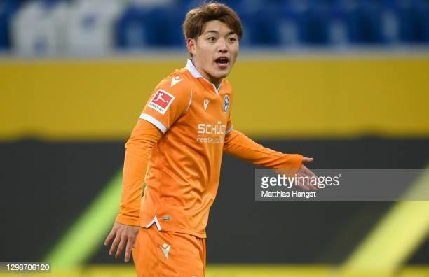 Ritsu Doan of DSC Arminia Bielefeld reacts during the Bundesliga match between TSG Hoffenheim and DSC Arminia Bielefeld at PreZero-Arena on January...