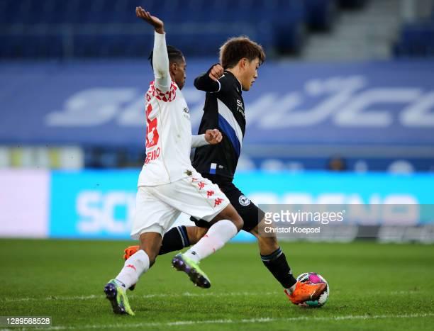 Ritsu Doan of DSC Arminia Bielefeld scores his team's second goal during the Bundesliga match between DSC Arminia Bielefeld and 1. FSV Mainz 05 at...