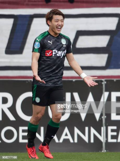Ritsu Doan of FC Groningen celebrates 01 during the Dutch Eredivisie match between Willem II v FC Groningen at the Koning Willem II Stadium on...