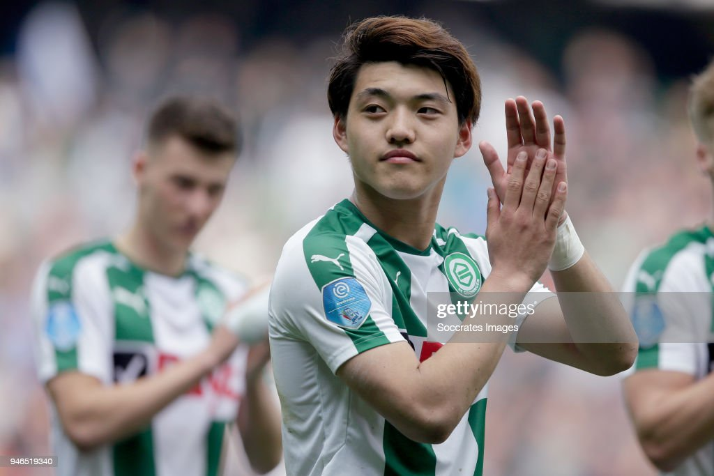 Ritsu Doan of FC Groningen celebrates the victory during the Dutch Eredivisie match between FC Groningen v Roda JC at the NoordLease Stadium on April 15, 2018 in Groningen Netherlands