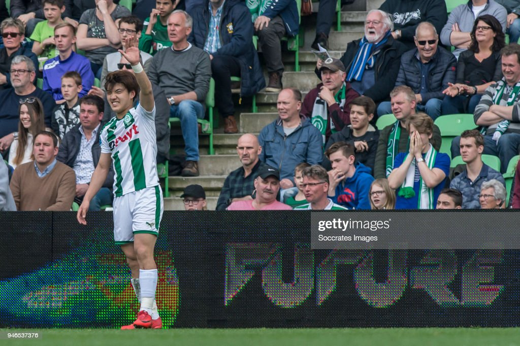 Ritsu Doan of FC Groningen during the Dutch Eredivisie match between FC Groningen v Roda JC at the NoordLease Stadium on April 15, 2018 in Groningen Netherlands