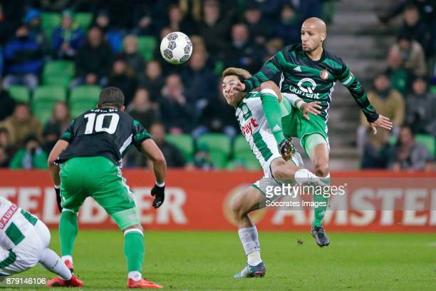 Ritsu Doan of FC Groningen Karim El Ahmadi of Feyenoord during the Dutch Eredivisie match between FC Groningen v Feyenoord at the NoordLease Stadium...