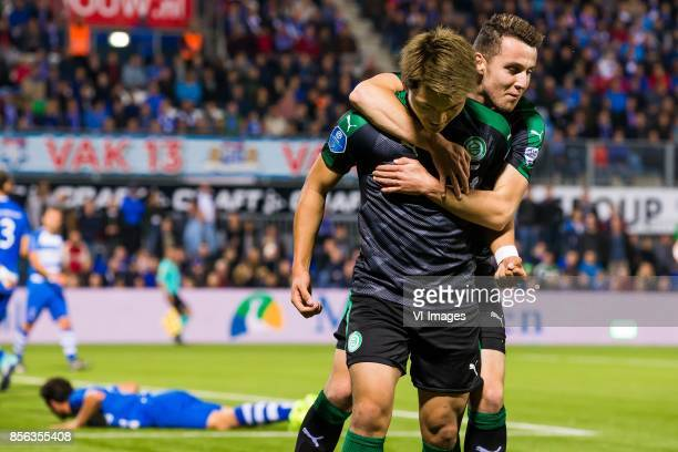Ritsu Doan of FC Groningen Oussama Idrissi of FC Groningen during the Dutch Eredivisie match between PEC Zwolle and FC Groningen at the MAC3Park...
