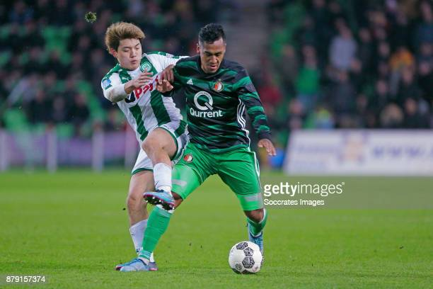 Ritsu Doan of FC Groningen Renato Tapia of Feyenoord during the Dutch Eredivisie match between FC Groningen v Feyenoord at the NoordLease Stadium on...
