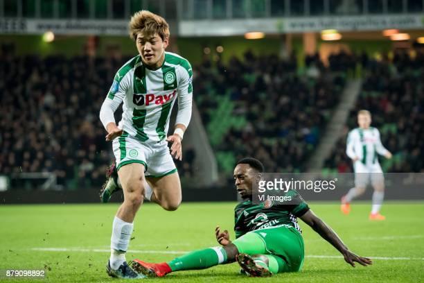 Ritsu Doan of FC Groningen Ridgeciano Haps of Feyenoord injury shoulder of Haps during the Dutch Eredivisie match between FC Groningen and Feyenoord...