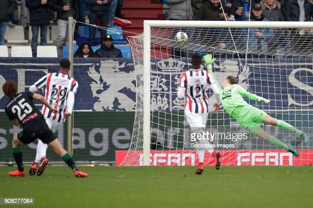 Ritsu Doan of FC Groningen scores the first goal to make it 01 during the Dutch Eredivisie match between Willem II v FC Groningen at the Koning...
