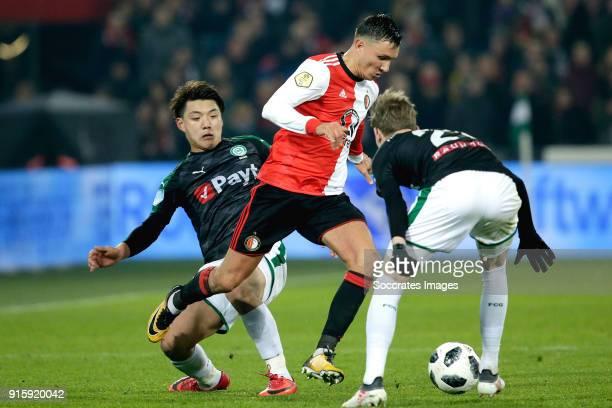 Ritsu Doan of FC Groningen Steven Berghuis of Feyenoord Django Warmerdam of FC Groningen during the Dutch Eredivisie match between Feyenoord v FC...