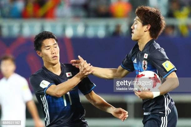 Ritsu Doan of Japan celebrates with Keita Endo after scoring a goal during the FIFA U20 World Cup Korea Republic 2017 group D match between Japan and...