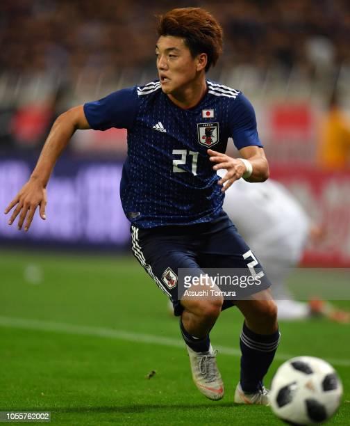 Ritsu Doan of Japan in action during the international friendly match between Japan and Uruguay at Saitama Stadium on October 16 2018 in Saitama Japan