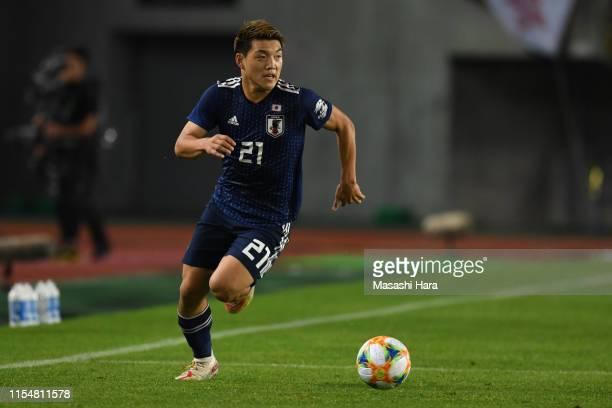 Ritsu Doan of Japan in action during the international friendly match between Japan and El Salvador at Hitomebore Stadium Miyagi on June 09, 2019 in...