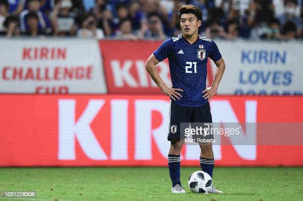 Ritsu Doan of Japan looks on during the international friendly match between Japan and Costa Rica at Suita City Football Stadium on September 11 2018...