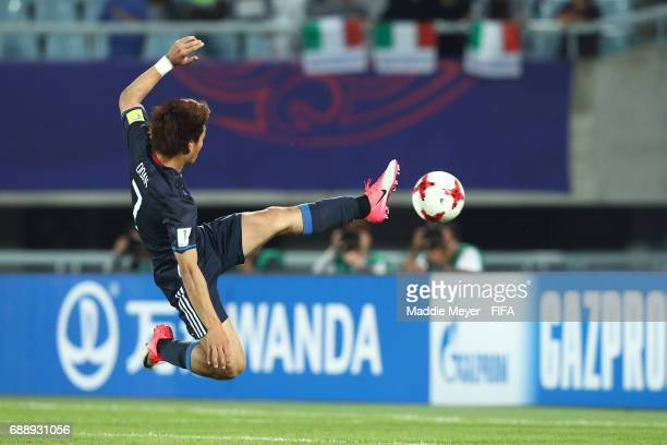 Ritsu Doan of Japan scores a goal during the FIFA U20 World Cup Korea Republic 2017 group D match between Japan and Italy at Cheonan Baekseok Stadium...