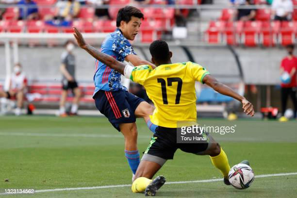 Ritsu Doan of Japan U-24 scores his side's fourth goal during the international friendly match between Japan U-24 and Jamaica at the Toyota Stadium...