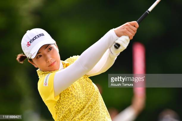 Ritsuko Ryu of Japan hits a tee shot on the 10th hole during the final round of the Chukyo TV Bridgestone Ladies Open at Chukyo Golf Club Ishino...