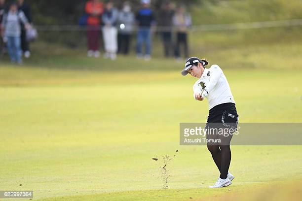 Ritsuko Ryu of Japan hits her second shot on the 8th hole during the final round of the Itoen Ladies Golf Tournament 2016 at the Great Island Club on...