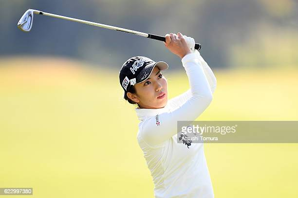 Ritsuko Ryu of Japan hits her second shot on the 9th hole during the final round of the Itoen Ladies Golf Tournament 2016 at the Great Island Club on...