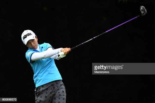 Ritsuko Ryu of Japan hits her tee shot during the final round of the Earth Mondamin Cup at the Camellia Hills Country Club on June 25 2017 in...