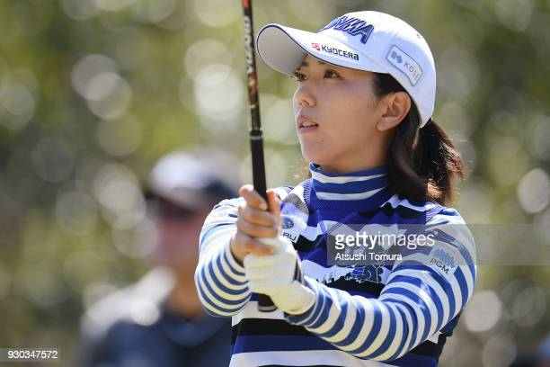 Ritsuko Ryu of Japan hits her tee shot on the 11th hole during the final round of the Tokohama Tire PRGR Ladies Cup at Tosa Country Club on March 11...