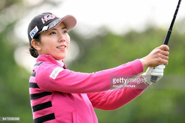 Ritsuko Ryu of Japan hits her tee shot on the 15th hole during the first round of the Daikin Orchid Ladies Golf Tournament at the Ryukyu Golf Club on...