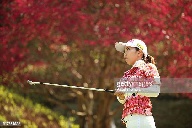 Ritsuko Ryu of Japan hits her tee shot on the 16th hole during the final round of the AXA Ladies Golf Tournament at the UMK Country Club on March 27...