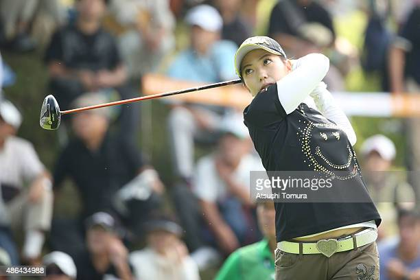 Ritsuko Ryu of Japan hits her tee shot on the 1st hole during the first round of the Golf 5 Ladies Tournament 2015 at the Mizunami Country Club on...