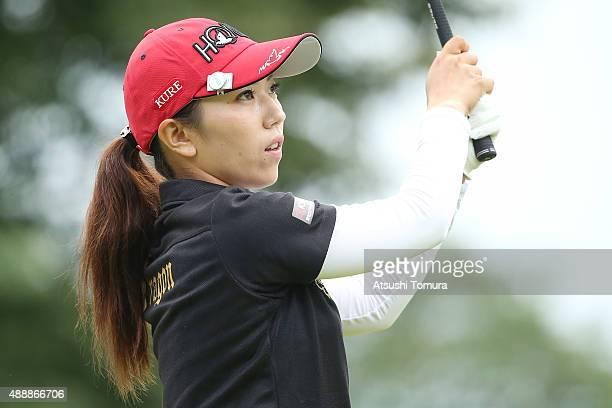 Ritsuko Ryu of Japan hits her tee shot on the 1st hole during the first round of the Munsingwear Ladies Tokai Classic at the Shin Minami Aichi...