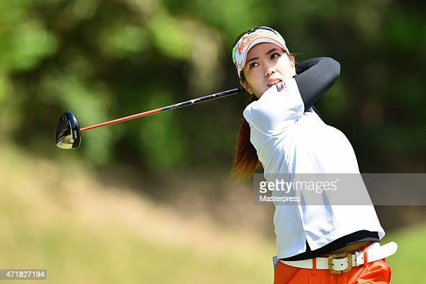 Ritsuko Ryu of Japan hits her tee shot on the 2nd hole during the first round of the CyberAgent Ladies Golf Tournament at the Tsurumai Country Club...