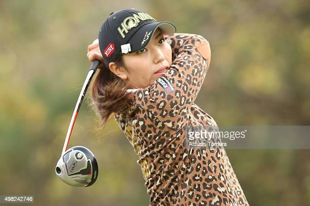Ritsuko Ryu of Japan hits her tee shot on the 2nd hole during the final round of the Daio Paper Elleair Ladies Open 2015 at the Itsuurateien Country...