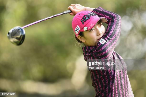 Ritsuko Ryu of Japan hits her tee shot on the 2nd hole during the second round of the 50th LPGA Championship Konica Minolta Cup 2017 at the Appi...