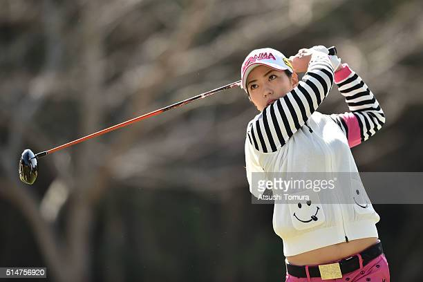 Ritsuko Ryu of Japan hits her tee shot on the 3rd hole during the first round of the Yokohama Tyre PRGR Ladies Cup at the Tosa Country Club on March...