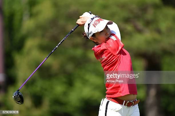 Ritsuko Ryu of Japan hits her tee shot on the 3rd hole during the final round of the World Ladies Championship Salonpas Cup at the Ibaraki Golf Club...
