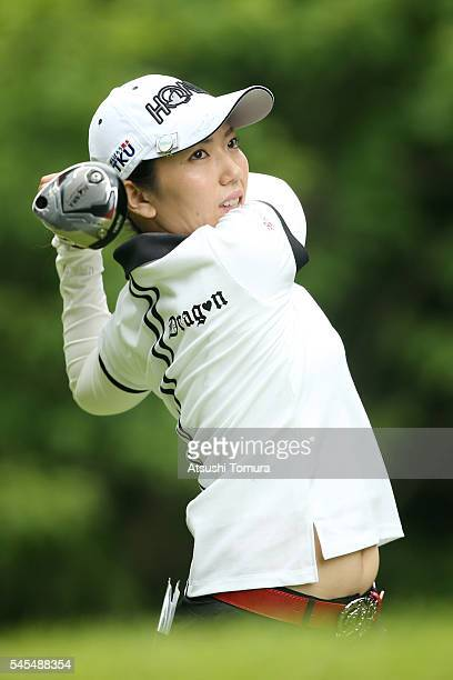 Ritsuko Ryu of Japan hits her tee shot on the 3rd hole during the first round of the Nipponham Ladies Classics at the Ambix Hakodate Club on July 8...
