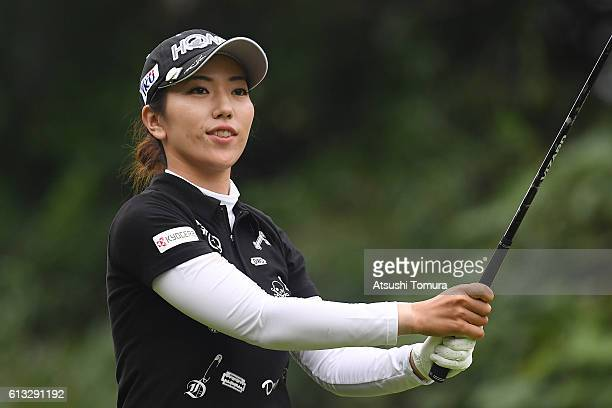 Ritsuko Ryu of Japan hits her tee shot on the 3rd hole during the second round of the Stanley Ladies Golf Tournament at the Tomei Country Club on...